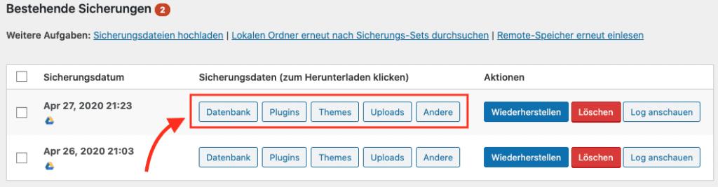 Backup aus WordPress lokal speichern