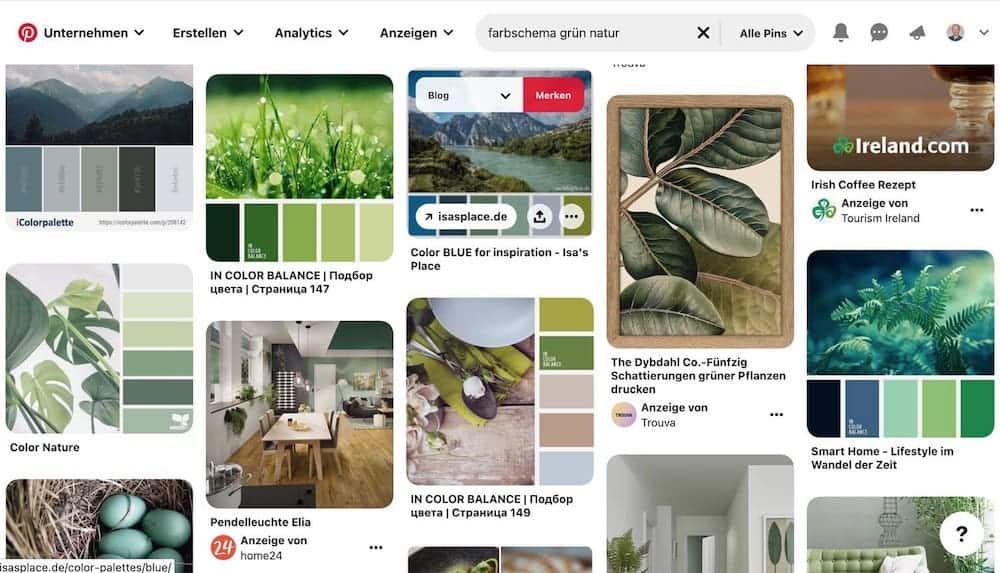 Website Farbschema von Pinterest